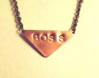 BOSS Hand Stamped Copper Necklace
