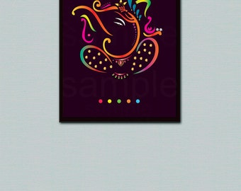 Ganesh Art Print,Ganpati,Ganesha Wall Art, Lord Ganesh 8x10 inspirational quote print instant digital download