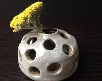 """Light Gray """"Polka"""" Flower Bud Vase"""