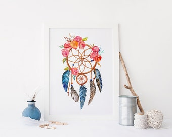tribal print, Dreamcatcher wall Art, Dreamcatcher Print, printable art, native american dreamcatcher boho print, boho nursery, feather print