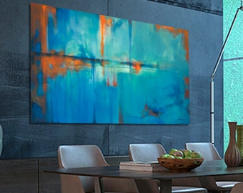 Large abstract Painting Blue Orange Painting Large Modern Painting Original Painting. Dimensions: 63.8 x 38.2 inches (162 x 97 cm)