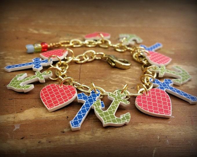 Religious Charm Bracelet - Faith Hope Charity - Bible School Jewelry - Sunday School Jewelry - Church Jewelry - Youth - Christian - Handmade
