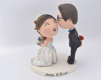 Cute couple kiss. Groom with red rose. Wedding cake topper. Wedding figurine. Handmade. Fully customizable. Unique keepsake