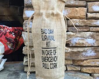 burlap wine bag, bad day survival kit, burlap gift bag, free shipping, hostess gift, wine gift bag, wine tote, wine gift, Christmas gift