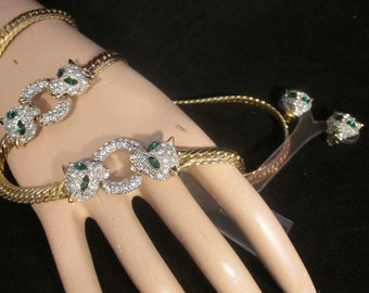 Vintage Demi Parure Panther jewelry set- Bracelet, Necklace, and Earrings