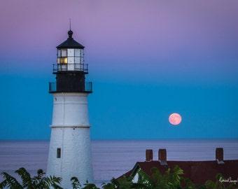 Moon Rising at Portland Head Light