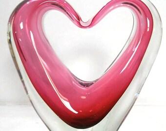 BIG glass heart sculpture, dark pink heart shaped glass figurine, red heart, red glass heart