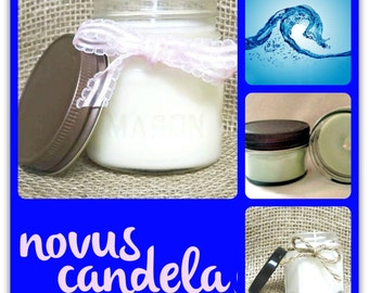 Soy Candle Mason Jar. Cool Water Scented Soy Candle. Mason Jar Candle Soy Candles Scented Candles. Handmade Candle. 2, 4 & 8 oz