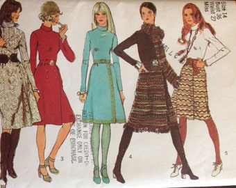 Simplicity 9576 - 1970s Dress with Front Wrap Skirt and Scarf - Size 14