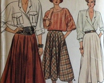 Vogue 9169 - 1980s Flared Skirt in Below Mid Knee, Lower Calf or Above Ankle Length - Size 14 16