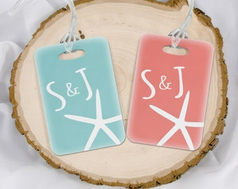 Beach Luggage Tags - Mr and Mrs Luggage Tags - Beach Wedding Gift - His and Hers gift - Honeymoon Bag Tags - Set of 2