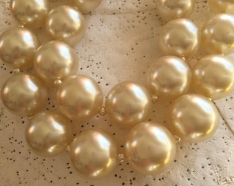 1980's  luscious large faux Pearl Choker double strand