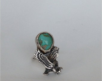 CUSTOM Turquoise and Sterling Silver Eagle Ring