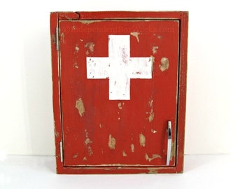 Made to Order: Distressed Red Medicine Cabinet - Painted White Cross First Aid Cabinet - Emergency Supply Cabinet - Small Bathroom Storage