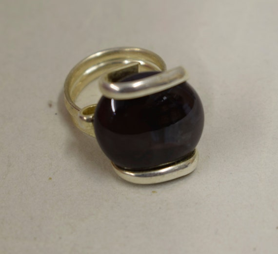 Ring Silver Black Colored Glass Handmade Glass Silver Jewelry Ring Fun Black Color Glass Unique