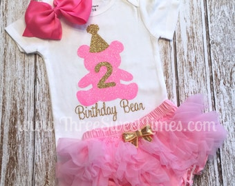 Birthday Bear | Baby Girl Outfit  | First Second | Tutu Bloomer | Pink and Gold Glitter | One Two Party | Opt Headband & Ruffle Bloomers