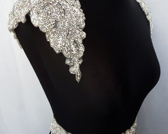 1 pair shoulders, Luxury applique, Shoulder Applique, Bridal Epaulettes, bridal applique, dress embellishment,  beaded applique, KAREN- SH