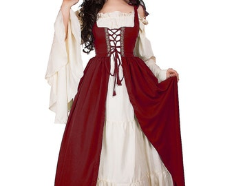 Renaissance Medieval Irish Costume Cranberry Over Dress Fitted Bodice  L/XL