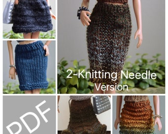 """Easy Barbie Knitting Patterns for Essential Skirts 5 pack, Comes with instructions to Knit """"Flat on Straight Needles"""" a Variety of skirts"""