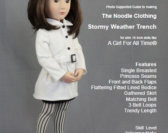A Girl For All Time®  Stormy Weather Trench Coat PDF Pattern fits 16 inch slim dolls