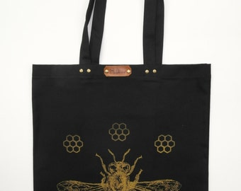 Honeybee - hand screen printed discharge cotton canvas tote bag