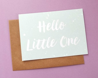 New Baby Card, New Baby Unisex Card, New Arrival Card, Baby Girl Card, Baby Boy Card, Hello Little One, Baby Shower Congratulations Card