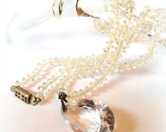 Estate Jewelry, Wedding Crystal Necklace, Antique Wedding, Lead Crystal, Teardrop Crystal, Something Old, Bridal Wedding Necklace
