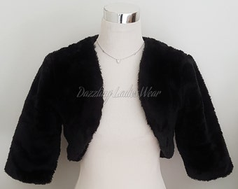 Black Faux Fur Bolero 3/4 Sleeves / Shrug / Jacket / Shawl / Wrap / Weddings Full Satin Lining - UK 4-26