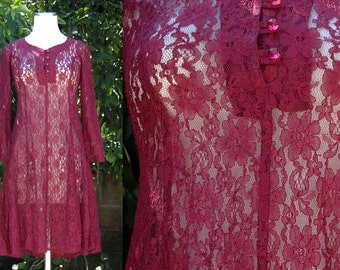 Maroon Red Lace Dress // Sheer Lace Dress with Long Sleeves and Corset Back