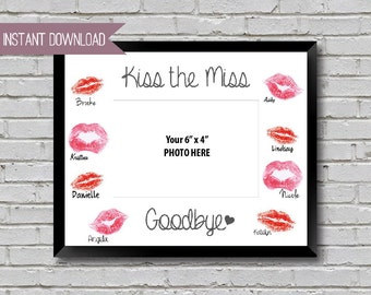 "Kiss the Miss Goodbye Kiss the Miss Goodbye Bridal Shower Sign Bachelorette Party Sign   10"" x 8"" INSTANT DOWNLOAD"
