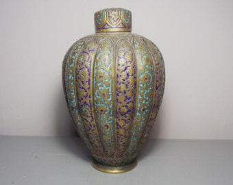 Antique Kashmir Enamel Gilt Copper Vase/Islamic Art/Indian Antiques/Kashmiri Enamel/Islamic Metalwork/Kashmiri Antiques/Indian Metalwork