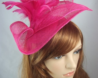 Fuchsia Hot Pink Leaf Sinamay Fascinator with Feather Flower - Hat Wedding Races