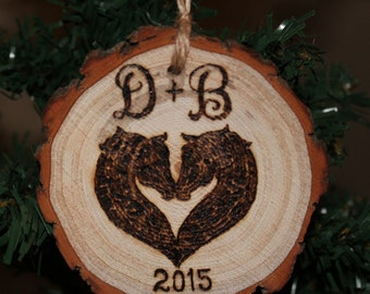 Monogram Horses Head Christmas Ornament Wood Tree Slice Heart Couples