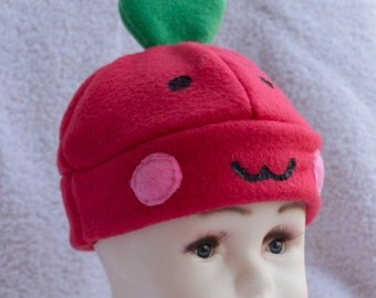 Apple Infant to 6 month sized Hat Beanie Winter Cap Cute Kawaii Fruit Fruity Vegetables Veggies Red Food Dessert Healthy Warm Child Safe