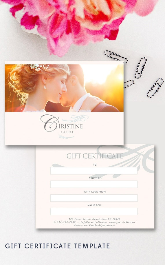 photoshoot gift certificate template - photographer gift card template wedding photo gift card