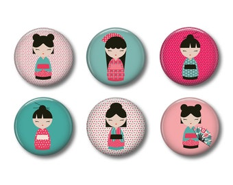 Kokeshi Dolls Set of 6 Magnets or Button Badges 1 Inch (2.5cm)