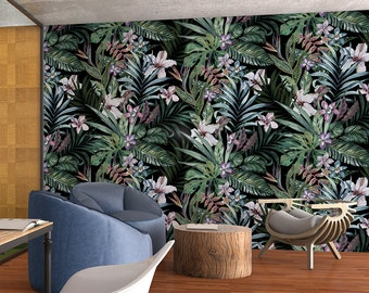 Botanical Removable Wallpaper - Floral Wallpaper - Peel & Stick - Self Adhesive Fabric Wallpaper - Temporary Wallpaper - SKU: BOTA