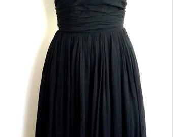 50's party dress, S, 50's dress, formal black dress, Gay Gibson dress, black dress, chiffon dress, black formal dress