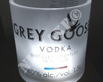Vase glass empty bottle Grey Goose Lumière Jar Led Limited Edition Magnum 1,5 liters recycled upcycle furniture man cave gift idea penholder