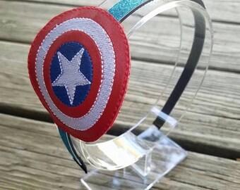 Captain America headband slider with headband, superhero headband, Captain America costume