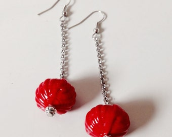 Earrings with blown glass beads, red earrings, blown glass, red glass
