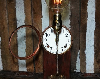 One-of-a-kind 1920 Gilbert Clock Face Upcycled Repurposed Steampunk Art Stash Box Lamp w/Vintage Style Edison Globe Filament Light Bulb