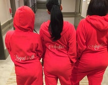 Personalized Fleece Lounger with Name on the Back, Bridesmaid Pajamas, Bridesmaid Gifts, monogrammed fleece lounger, fleece onesie
