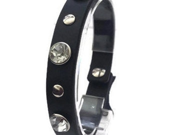 Sale 40% off Simple Leather Wrist Cuff with silver stones/Gifts for her