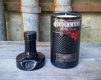Scented Soy Candle, Upcycled Black Glass Brockmans Gin Liquor Bottle
