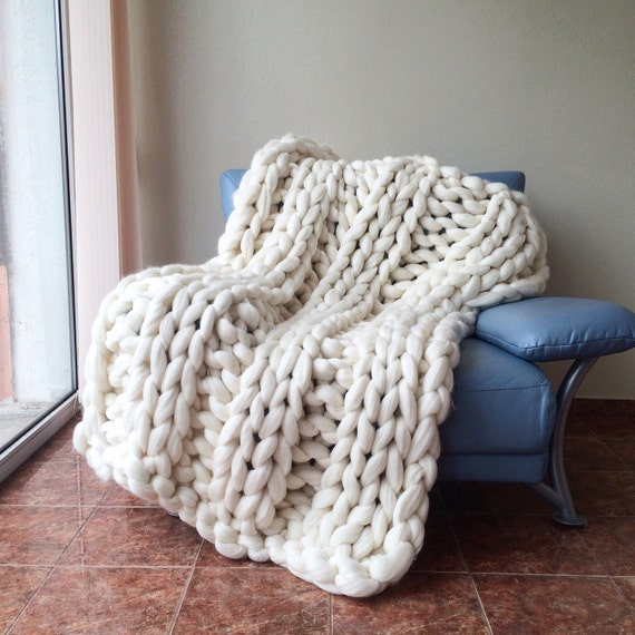 Knitting Wool Blanket : Super chunky knit blanket merino wool hand
