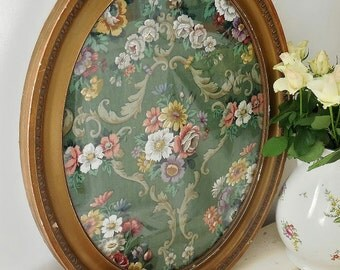 Antique antique picture frame, Victorian picture frame, framed floral linen