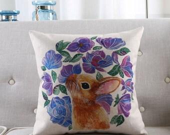 Rabbit throw pillow case pillow cover