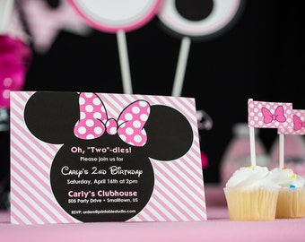 Pink Minnie Mouse Invitation - INSTANT DOWNLOAD Minnie Invitation - Oh Twodles birthday party invitations by Printable Studio