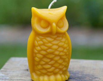 Beeswax owl candle, 100% pure beeswax candle, harvested from our beehives. Amazing beeswax smell, will burn for hours